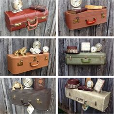 "We had to share this idea from Krrb member Mandy Heth for upcycling colorful suitcases into functional shelves. Check out her Vintage Baubles and Bits store for vintage clothing, jewelry and home decor. Read on for a step-by-step tutorial on crafting a few of these ""travel"" displays! via @krrbsale"
