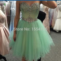 New Cute Sweetheart Crystal Beaded Mint Green Short Prom Dresses 2015 A Line Tulle Evening Party Dress Homecoming Dresses