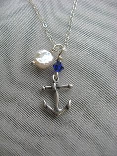Simple Anchor Sterling Silver Necklace by smisko on Etsy, $26.00