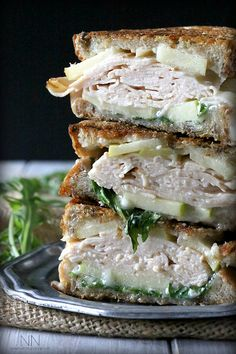 This fall inspired turkey apple brie panini with honey mustard maple mayo is the perfect sweet and savory combination. **too much work for an ok sandwich** Gourmet Sandwiches, Gourmet Burger, Turkey Sandwiches, Wrap Sandwiches, Sandwich Recipes, Panini Sandwiches, Sandwich Ideas, Delicious Sandwiches, Think Food