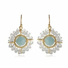 Sea Salts Beaded Edge Earrings in 24 Karat Gold Vermeil The Black Bow. $94.00. Stone color may vary slightly from picture. Handmade from 24 karat gold-plated sterling silver. Hanging length approximately 1 1/4 inch. Features amazonite and blue quartz gems
