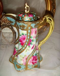 Nippon - Noritake - Japan - Chocolate Pot  - Pink Roses -  Gilded Highlights - Gold Beaded Accents