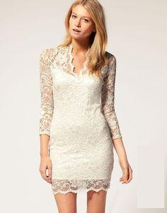 short lace white dress - Google Search