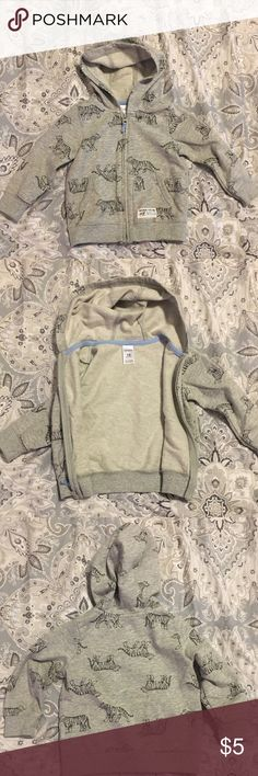 "Boys Jacket 👶 Grey ""Born to be Wild"" tiger 🐯 hoodie zip up jacket with pockets; good condition; bundle with other items & make me an offer 🌟👍😊 Carter's Jackets & Coats"
