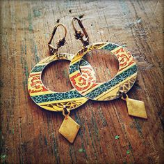 libretto hoops  vintage tin and brass by littleblackrabbit on Etsy, $35.00