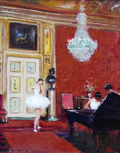 """books0977: """"Ballet Dancers in a Red Salon (c.1920-c.1970). Jules René Hervé (French, 1887-1981). Oil on panel. Leighton Fine Art. Ballet dancers practice while one plays music at the grand piano in a..."""