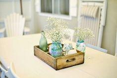 Marmeladenglas wird zur Vase - maritime Deko am Gartentisch