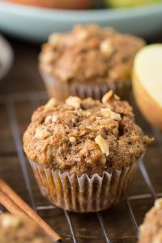 Made with whole wheat flour, coconut oil, apple sauce and maple syrup these healthy apple muffins will be your new favorite fall snack. Muffin Recipes, Apple Recipes, Healthy Recipes, Healthy Snacks, Fall Recipes, Kid Muffins, Applesauce Muffins, Apple Cinnamon Muffins, Smoothies