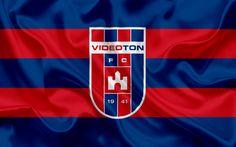 Download wallpapers Videoton FC, Hungarian Football Club, emblem, logo, silk flag, Szekesfehervar, Hungary, football, Hungarian football league