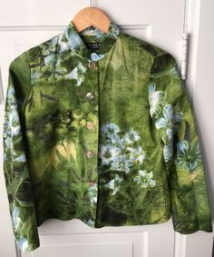 Citron-Santa-Monica-Jacket-Top-Green-Blue-Floral-Asian-Printed-Cotton-Silk-XS
