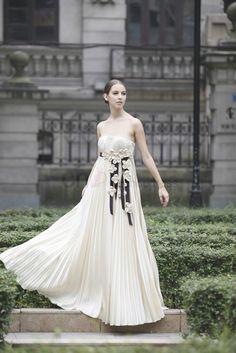 Elegant White A-line/Princess Strapless Silk Satin Long Evening Dress With Roses Wedding Dress 2013, Prom Dress 2014, Cheap Wedding Dress, One Shoulder Wedding Dress, Wedding Dresses, Evening Dresses, Prom Dresses, Formal Dresses, Handfasting