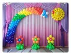 decor ideas home 1st Birthday Girl Decorations, School Decorations, Rainbow Balloons, Balloon Backdrop, Balloon Decorations Party, Birthday Balloons, Mermaid Birthday Cakes, Carousel Birthday Parties, Girls Birthday Parties