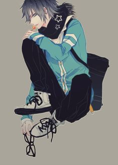 original, ibuki (mangaka), bent knees, black eyes, black hair, blue eyes, earrings, jewelry, looking at viewer, male, piercing, scarf, short hair, sitting, solo, star (symbol) | Sankaku Channel