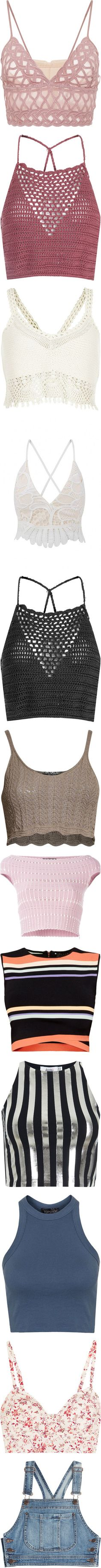 Tanks/Crop Tops by topazleann on Polyvore featuring women's fashion, tops, crop tops, bralet, shirts, crop, lace crop top, crochet crop top, white shirt and bralette tops