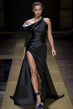 Atelier Versace | Fall 2016 Couture | 13 Black maxi dress with side slit and asymmetrical shoulders