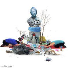 Lixo, consumo excessivo e um mar de críticas são coisas que você encontra nos Gifs do sérvio Milos Rajkovic. Essa combinação toda de informações na arte do cara dispensa maiores comentários.