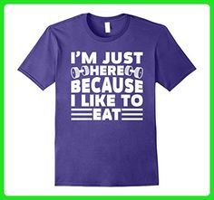 Mens I'm Just Here Because I Like To Eat Funny Workout T-Shirt Large Purple - Workout shirts (*Amazon Partner-Link)