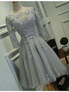 Gray Homecoming Dresses with Half Sleeves,Lace Appliqued Short Prom Dresses HC1768