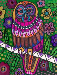 Owl Art Bird Print Poster of Painting gift Heather Galler Modern Folk Art Flower