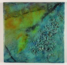 "Restive Uprising, newest encaustic work, 6"" x 6"" wood panel, mixed media. (C) James Green"