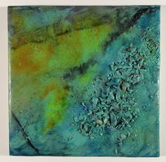 "James Green | Untitled | encaustic mixed media on wood panel, 6""x6"" /sm"