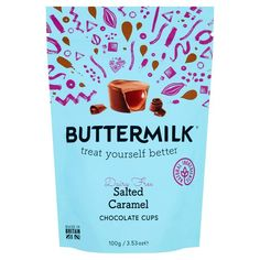 Buttermilk Salted Caramel Chocolate Cups 100g | Sainsbury's Salted Caramel Chocolate, Chocolate Cups, Fresh Food Delivery, Sainsburys, Treat Yourself, Dairy Free, Treats, Sweet Like Candy, No Dairy
