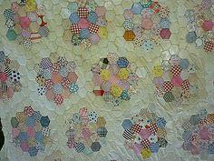 Honeycomb Grandmothers Flower Garden 1930's Quilt Top