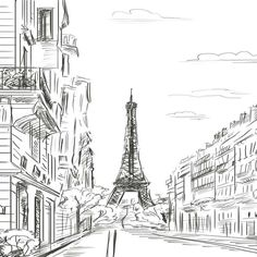 7410 Paris Eiffel Tower Line Art Backdrop