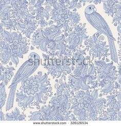 Vector floral seamless pattern. Exotic bird with fantastic flowers, leaves. Light blue grey fairy parrot silhouette in the jungle on a beige background. Textile bohemian style print. Batik painting
