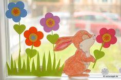 Frühling-Spring-Oster-Fensterbild-Fensterdeko-Fenster-Dekoration-Pastell-Blumen-Stanzer-einfach-kleben-Cardstock-Papier-Hase