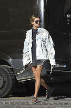 As Paris Fashion Week draws to a close, Hailey Baldwin sports an all-American staple with a high fashion element.