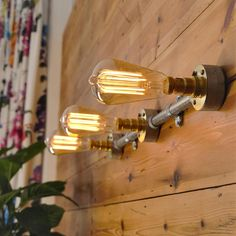 Industrial Vintage Style Wall or Ceiling Light 3 Way Bar, plus LED Filament Lamps