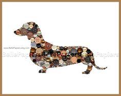 5x7 Button Art Dachshund Button Art Dog Swarovski Rhinestones Button Doxies…