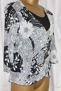 Ladies SALOOS top size 20 - 22 XL womens party black white silver sparkle blouse. #auction
