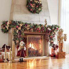 Christmas Fireplace, Christmas Mantels, Christmas Holidays, Christmas Wreaths, Christmas Decorations, Christmas Ideas, Fireplace Mantle, Holiday Decorating, Holiday Ideas