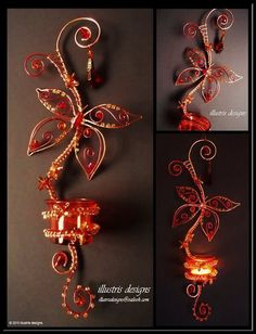 Unique butterfly candle holder / suncatcher door illustrisdesigns