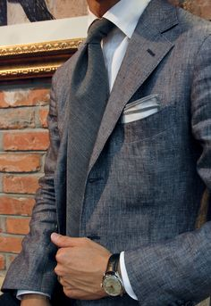 Linen chambray jacket fabric by Harrison's Made by Satoria Vanni