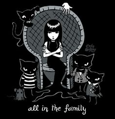 Emily the strange with her cat family