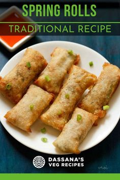 Spring rolls recipe with video and step by step photos – yummy and a popular Indo Chinese snack recipe of veg spring roll. These delicious vegan spring rolls are crunchy from outside, with a spiced vegetable filling from inside.Volume 0% Fried Spring Rolls, Vegetable Spring Rolls, Appetizer Recipes, Snack Recipes, Cooking Recipes, Appetizers, Healthy Veg Recipes, Baker Recipes, Skinny Recipes