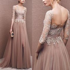 Ball Gown Champagne Prom Dresses Lace Long Evening Gowns With Tulle skirt Evening Dress by DestinyDress, $217.31 USD