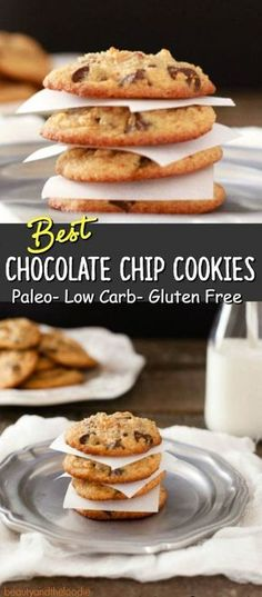 Best Chocolate Chip Cookies Paleo & Low Carb – Super tasty grain free cookies with a sugar free option. Best Chocolate Chip Cookies Paleo & Low Carb – Super tasty grain free cookies with a sugar free option. Low Carb Deserts, Low Carb Sweets, Paleo Dessert, Healthy Sweets, Dessert Recipes, Cookie Recipes, Keto Desserts, Dessert Ideas, Budget Desserts