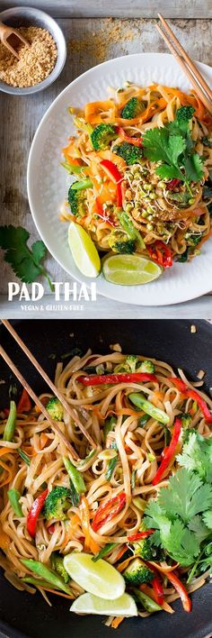 This vegan and gluten free pad thai makes an easy, quick and satisfying lunch or dinner. This vegan and gluten free pad thai makes an easy, quick and satisfying lunch or dinner. Veggie Recipes, Whole Food Recipes, Cooking Recipes, Healthy Recipes, Thai Recipes, Free Recipes, Simple Recipes, Quick Recipes, Shrimp Recipes