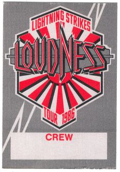 LOUDNESS 1986 TOUR CREW PASS LIGHTNING STRIKES JAPANESE HEAVY METAL OTTO  Safely Stored For Over 32 Years   This Will be a great Gift for any Fan  Shipping will be within 2 days of your payment  All Sales are Guaranteed Satisfaction  We are Fans so we know what fans Expect  THEMIGHTYFINWAH Loudness, Lightning Strikes, Heavy Metal, Backstage, Fans, Tours, Japanese, Gift, Heavy Metal Music