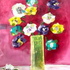 """Val Braun Art – Winnipeg Artist this Yellow vase compiled with art work produced while visiting my father in the hospital, he kept saying """"do something other than flowers. Watercolour Drawings, Watercolor Paper, Yellow Vase, Flower Collage, Acrylic Flowers, Draw Something, Art Work, Mixed Media, Father"""