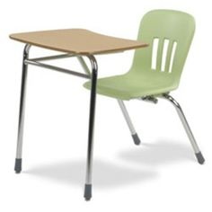 """Virco's new Metaphor 4-leg combo units combine an ergonomically contoured shell for outstanding comfort with a heavy-gauge steel frame that includes a full-perimeter backrest and locking front-U for 360° shell support. This model has a contoured 19-3/8"""" x 25-3/8"""" high-pressure laminate work surface."""