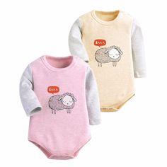 아기 의류 2 개/몫 바디 슈트 아기 긴 소매 양 인쇄 겨울 아기 의류 신생아 바디 슈트 아기