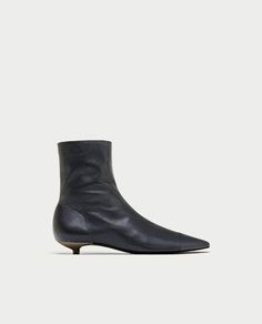 535d42a19f7b FLAT LEATHER ANKLE BOOTS WITH TOE CAP DETAIL - SHOES