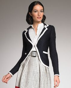 Contrast-Trim Knit Blazer, want to make this using an over sized thrift store sweater and bias tape