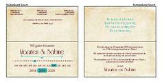 Trouwkaartje - Typografische trouwkaartje op een nostalgisch papier Ontwerp of bewerk dit kaartje zelf! Met onze ontwerp tool. www.trouwkaarten-drukkerij.nl #trouwkaarten, #wedding, #bruiloft, #kaartjes, #ontwerpen, #uitnodigingen