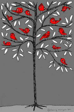 Bird Tree Art Print by Terry Runyan - I love birds and trees together! Illustrations, Illustration Art, Bird Tree, Arte Popular, Winter Art, Winter Colors, Tree Print, Art Graphique, Red And Grey